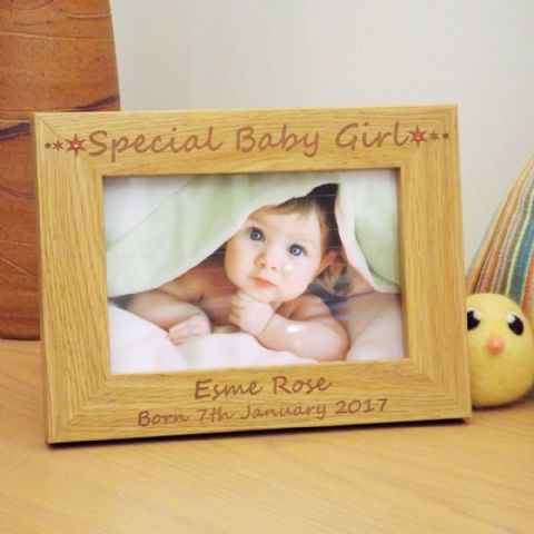 Special Baby Girl Wooden Photo Frame with Swarovski Crystals